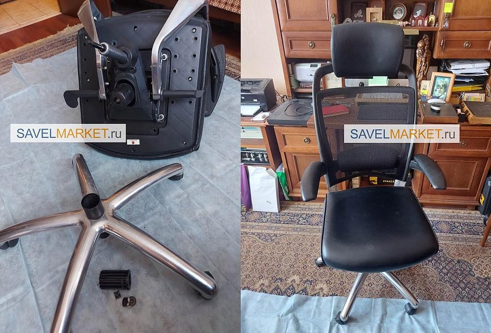 Замена газлифта на компьютерном кресле на Stabilus Германия - Savelmarket ru, На кресле с мультиблоком сломался газлифт 60/160, Кресло эксплуатировалось в самом верхнем положении, из-за большого рычага во время эксплуатации кресла, пластиковая втулка удерживающая шток газлифта начала крошится и выскочила из стакана.