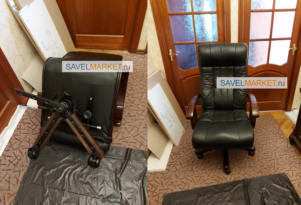 Заявка на ремонт большого кожаного кресла с деревянной крестовиной, На профильной крестовине отломилось два луча - выезд мастера по Москве, Savelmarket.ru