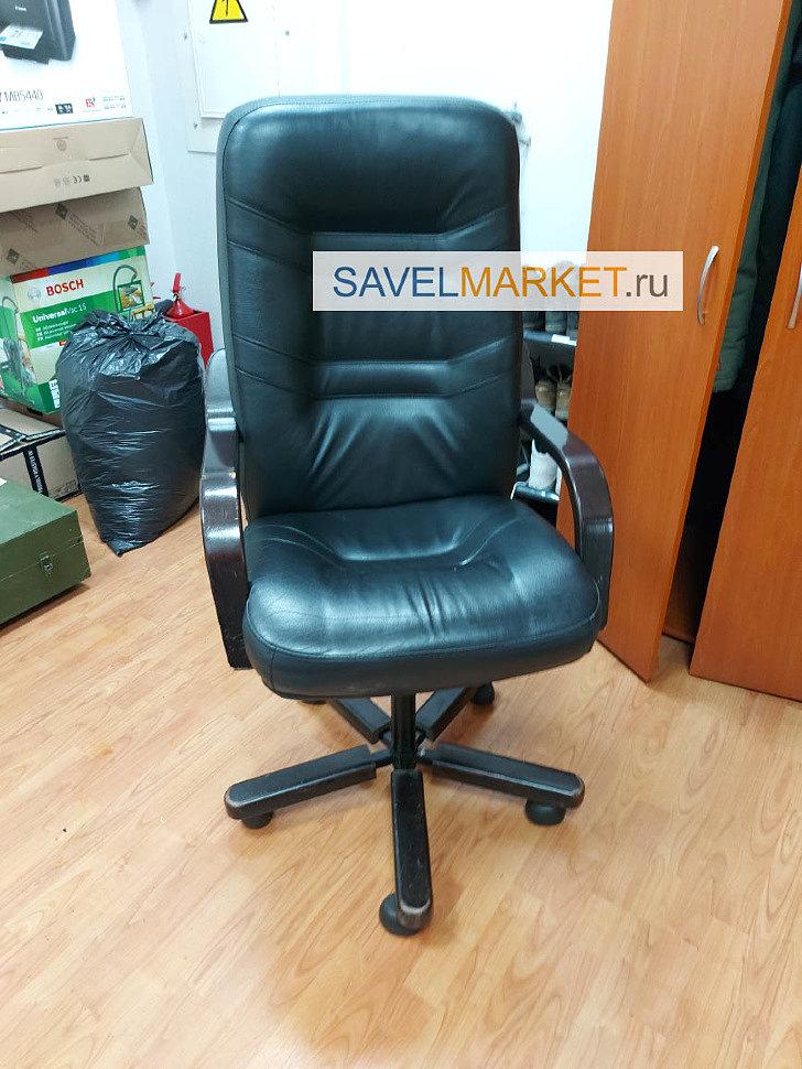Ремонт кожаного кресла в офисе - замена газлифта на усиленный Stabilus Германия, вызвать мастера - Savelmarket ru