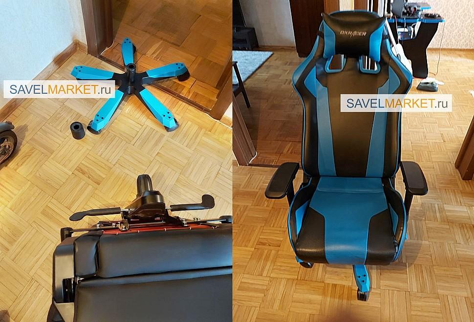 Ремонт игрового кресла DXRacer серии KING замена газлифта - Мастер провел ремонтные работы - демонтировал стакан газлифта из металлической крестовины и шток из механизма Мультиблок, Установил новый усиленный газлифт, собрал кресло