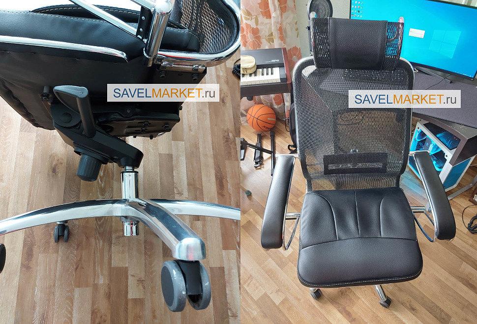 Ремонт кресла с сетчатой спинкой - замена газлифта с завышенным конусом,  ремонт офисного кресла с сетчатой спинкой и подголовником производства Metta Уфа, оснащенным механизмом Мультиблок посадочные 195х195