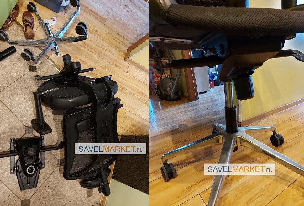 Ремонт компьютерного кресла - замена газлифта на более высокий усиленный газлифт 4 класса с повышенной рабочей нагрузкой, что увеличило минимальную высоту посадки на кресле на 6 см, и аналогичный механизм Мультиблок с синхроплатой.