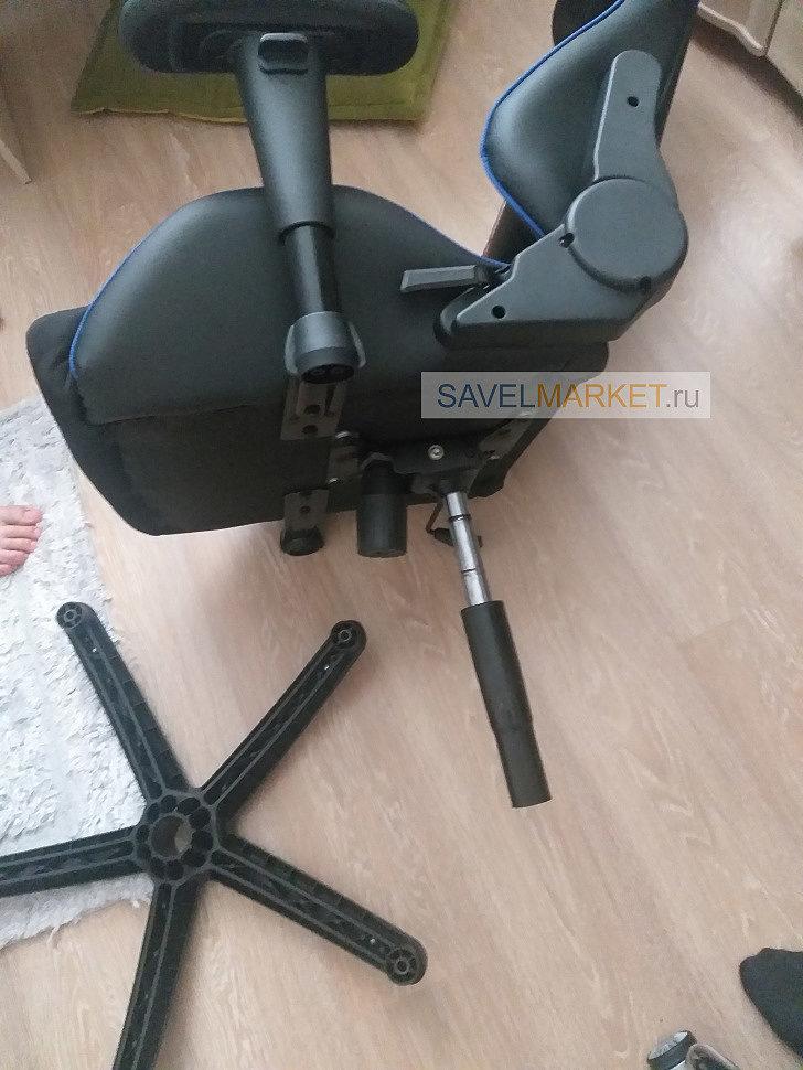 Ремонт игрового кресла в Пушкино специалисты подобрали на замену стальную хромированную крестовину с широкими полями D70 и повышенной рабочей нагрузкой до 140 кг.