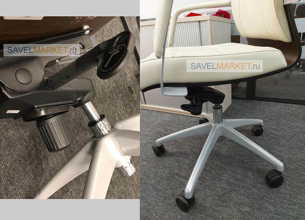 Ремонт белого кожаного кресла в офисе, замена газлифта на мультиблоке, SavelMarket