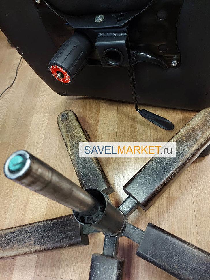 Ремонт кресла в офисе - на кресле сломался газлифт 100/200 - газлифт перестал держать рабочую нагрузку и рассыпалась пластиковая втулка, удерживающая шток газлифта
