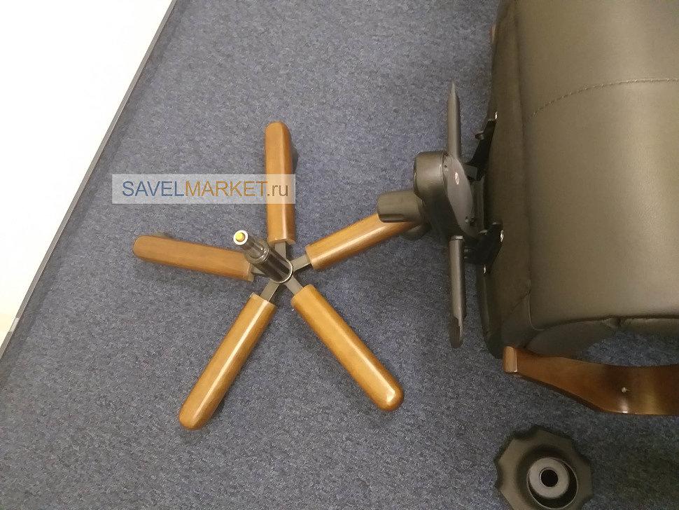 Ремонт кожаного кресла с деревянной крестовиной, замена газлифта