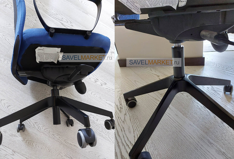 SavelMarket - Обратите внимание разницу в высоте кресла до ремонта и после. У газлифта с завышенным конусом узкая часть проваливается ниже крестовины. А классический газлифт с прямым конусом ниже крестовины не уходит. Ремонт кресел в офисе